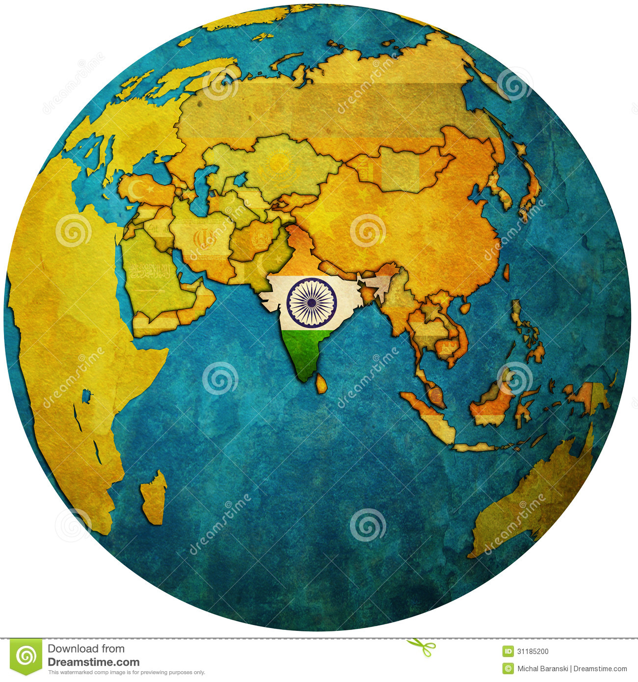 Isolated over white territory of india with flag on globe map.