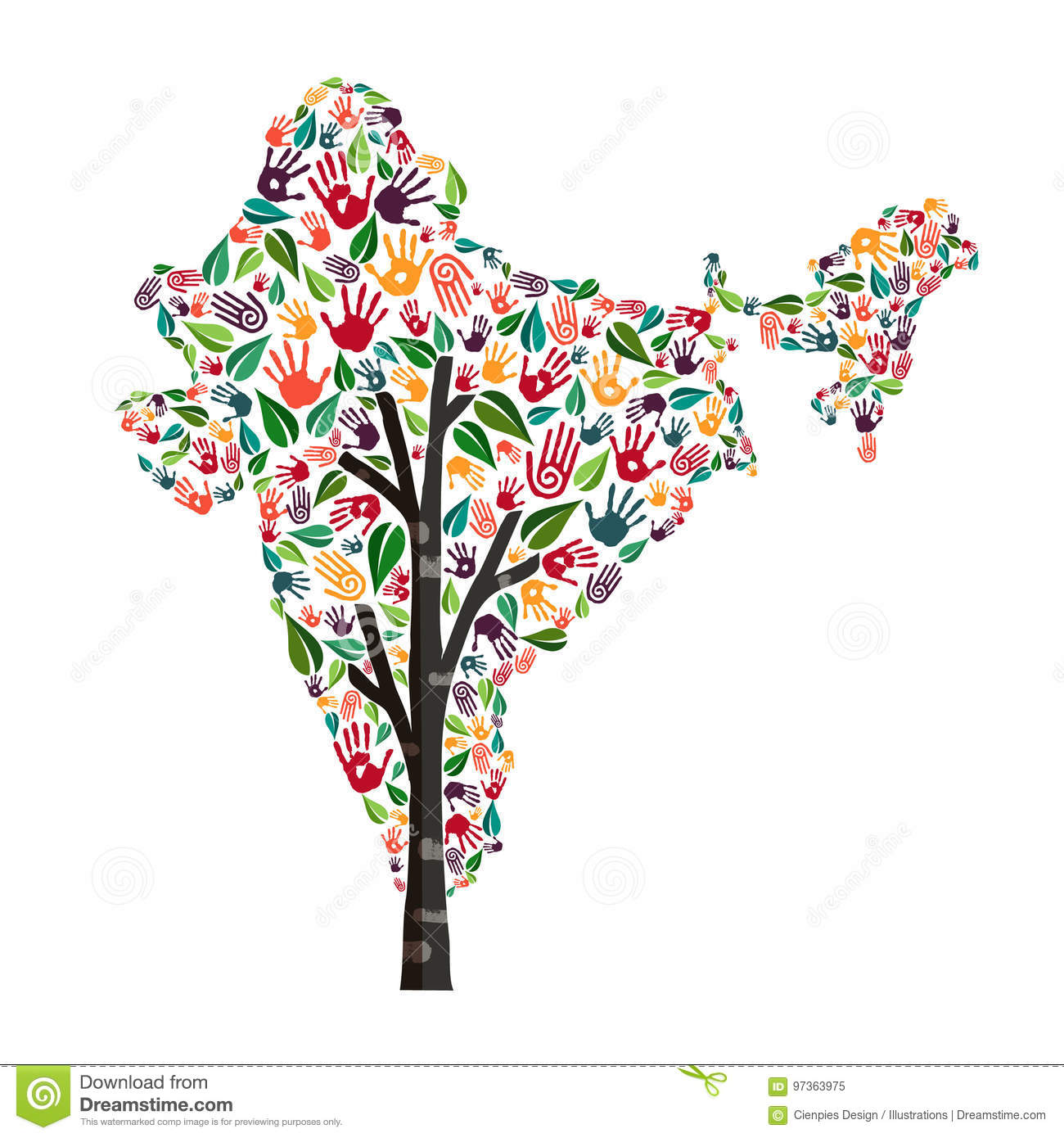 India Hand Print Tree Symbol For World Help Stock Vector