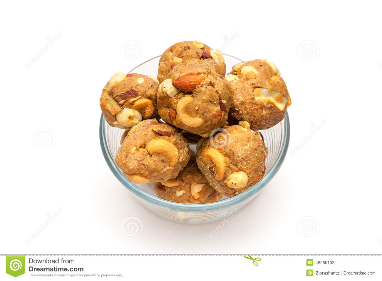 India homemade sweet dry fruits laddoo in glass bowl