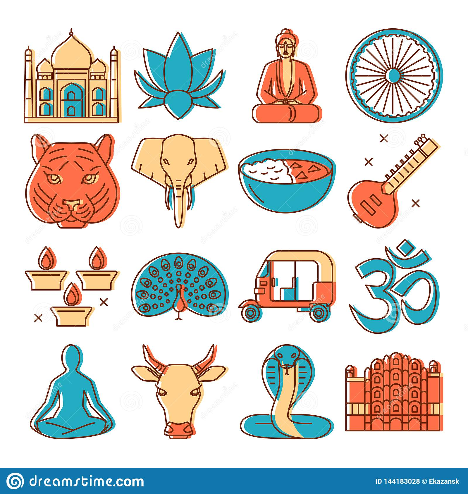 India Icons Set In Colored Line Style Stock Vector Illustration Of