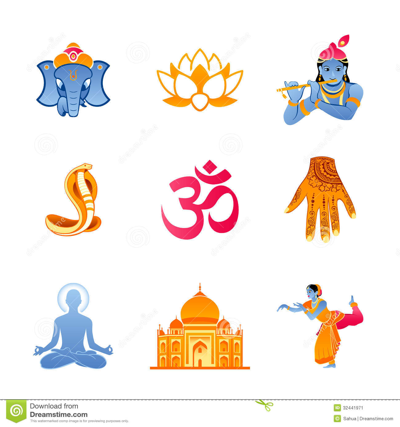 Spiritual, religious and culture icons of India.