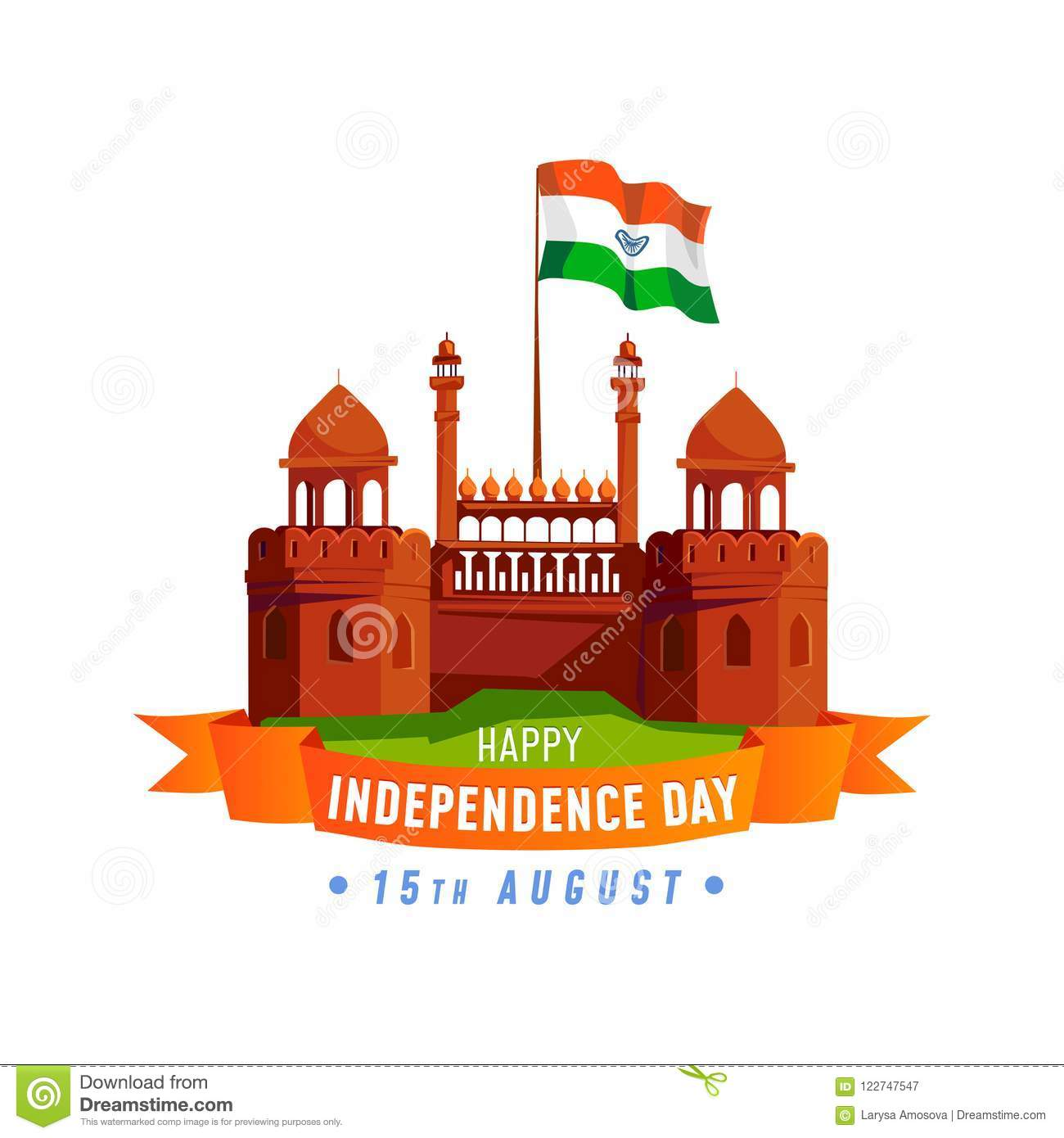 India Independence Day Card Isolated On White Background Cartoon India Greeting Card Design Template Stock Vector Illustration Of Editable India 122747547