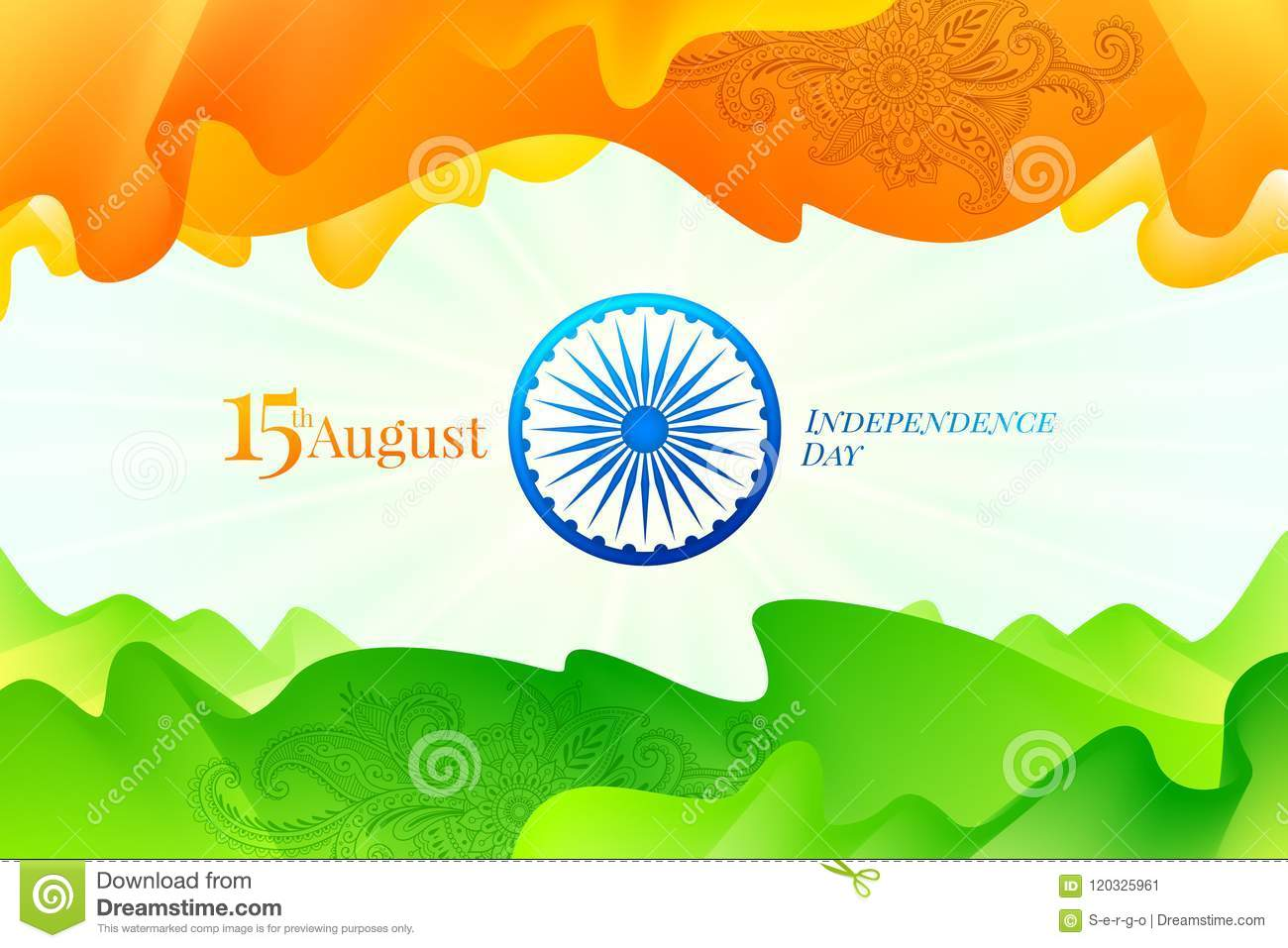 India Independence Day Abstract Indian Flag Fluid Shapes With
