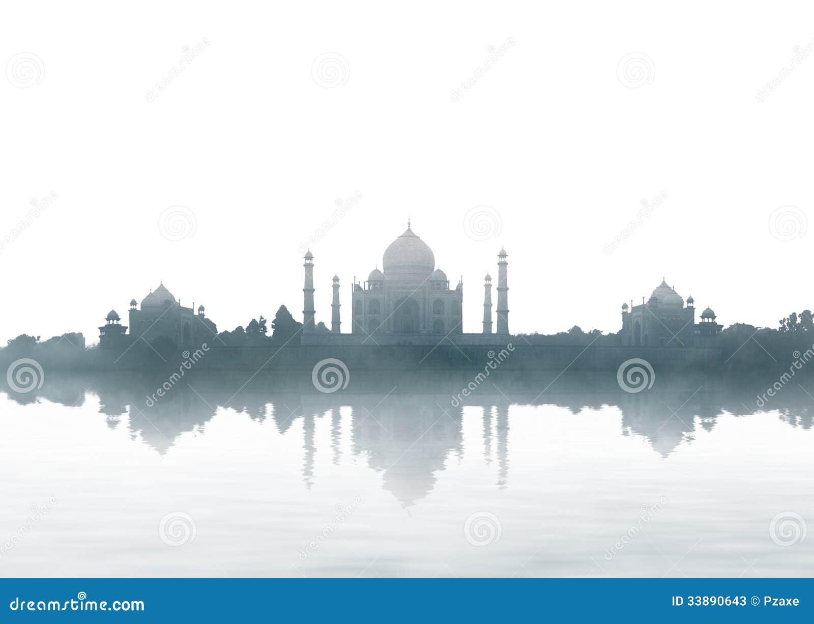 India landmark - Taj Mahal panorama with fog