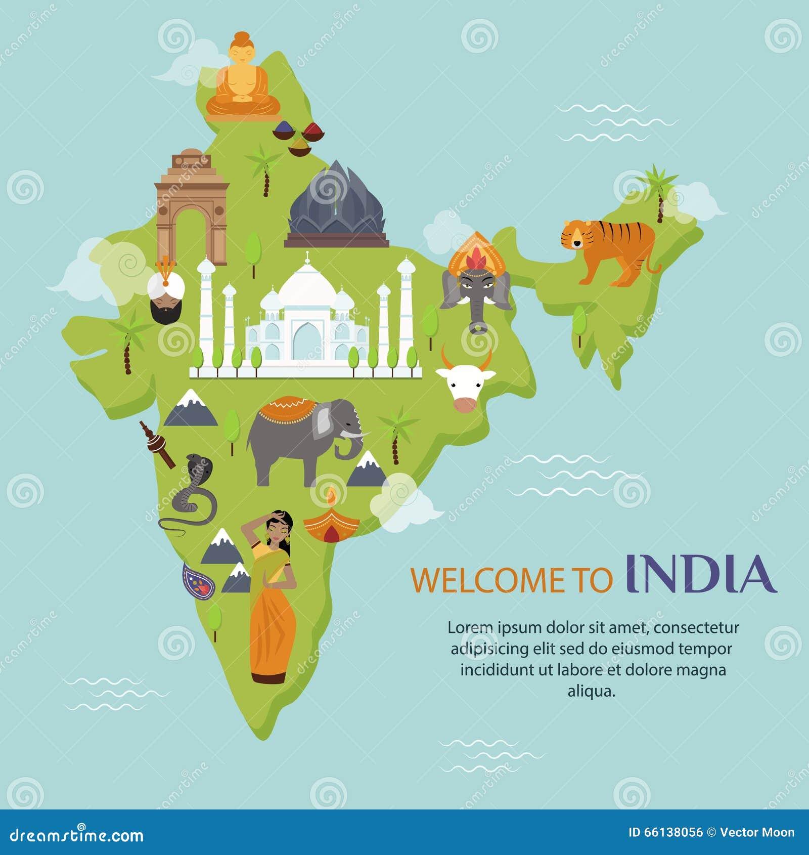 India Landmark Travel Map Vector Illustration Stock Vector Image - India map vector