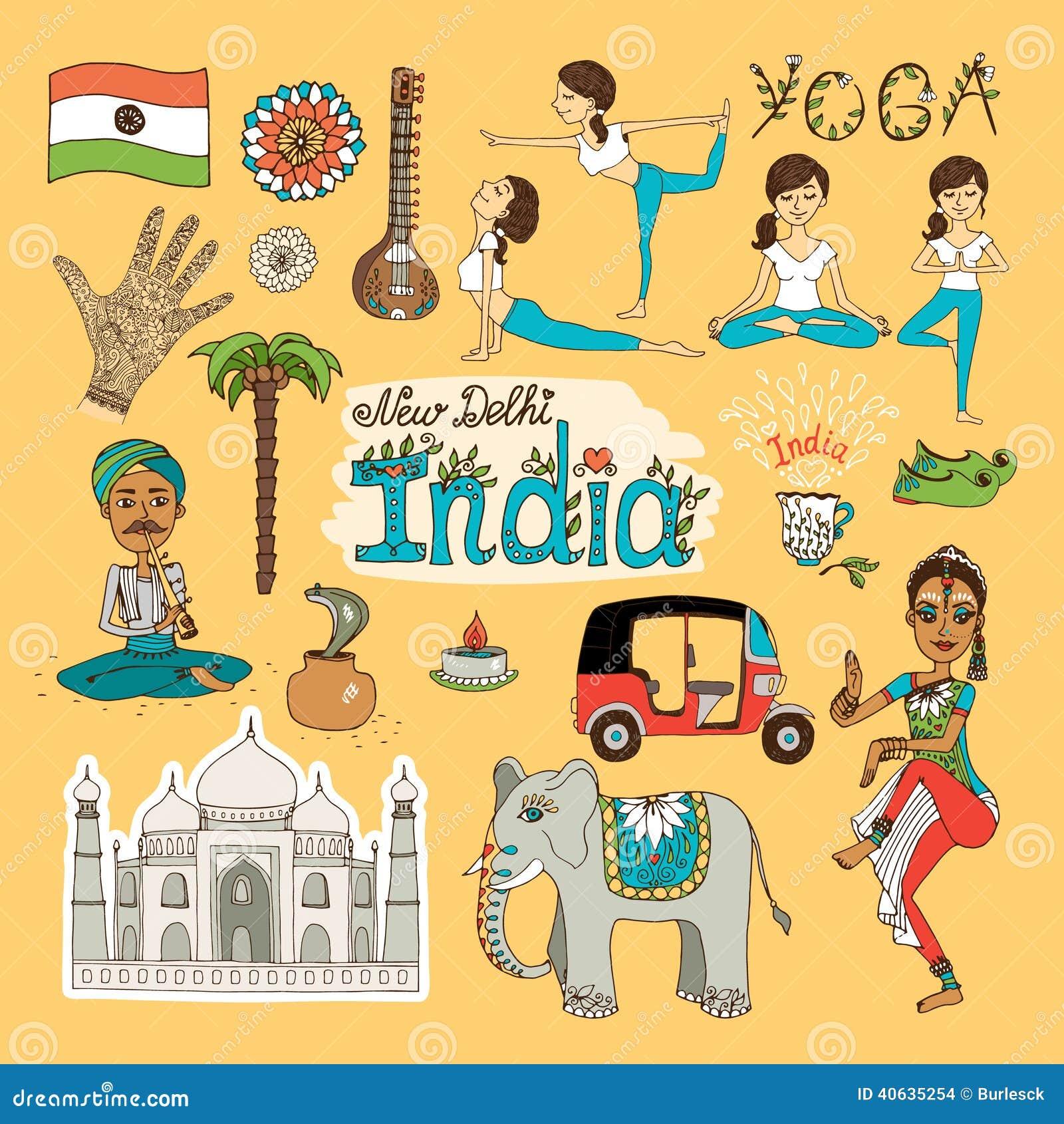 India Landmarks Stock Vector Image 40635254