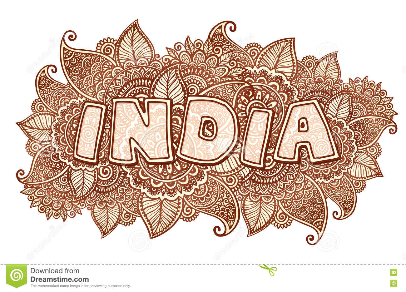 India Lettering On Henna Colors Mehndi Floral Background ...