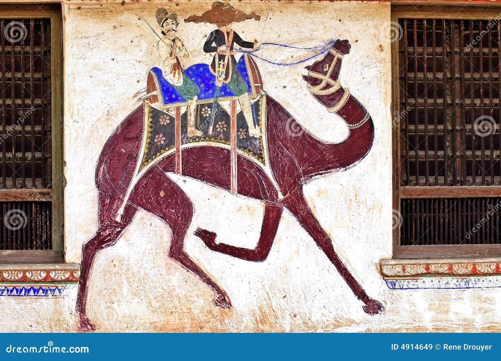 Mandawa India  city photos : India, Mandawa: Colourful Frescoes Royalty Free Stock Images Image ...