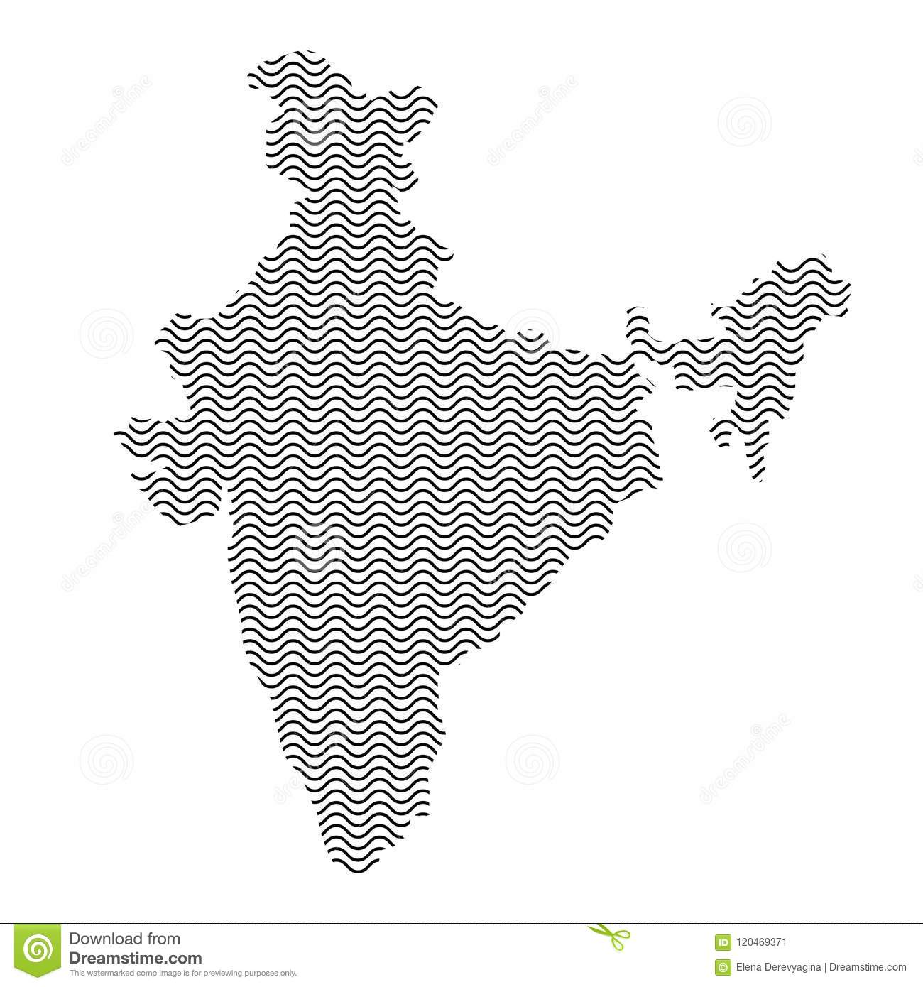 India Map Country Abstract Silhouette Of Wavy Black Repeating Li ...