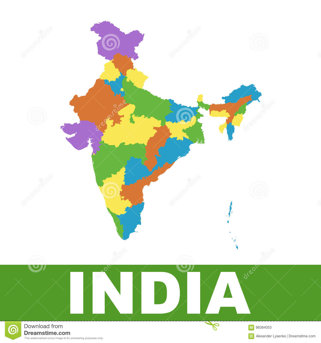 India Map With Federal States Flat Vector Stock Vector