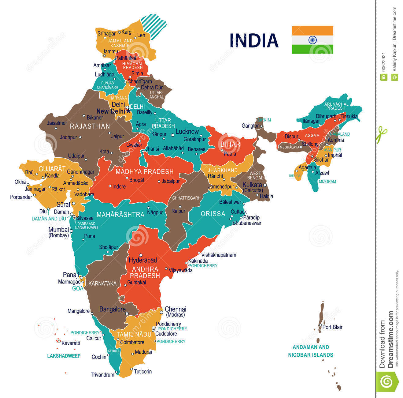 Where Is Hyderabad Located In India Map.India Map And Flag Illustration Stock Illustration