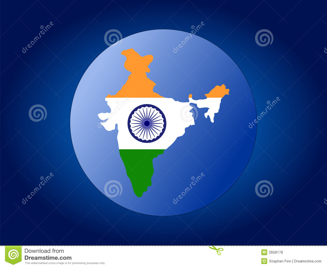 India Flag Map: Map Of India Flag Cartoon Vector