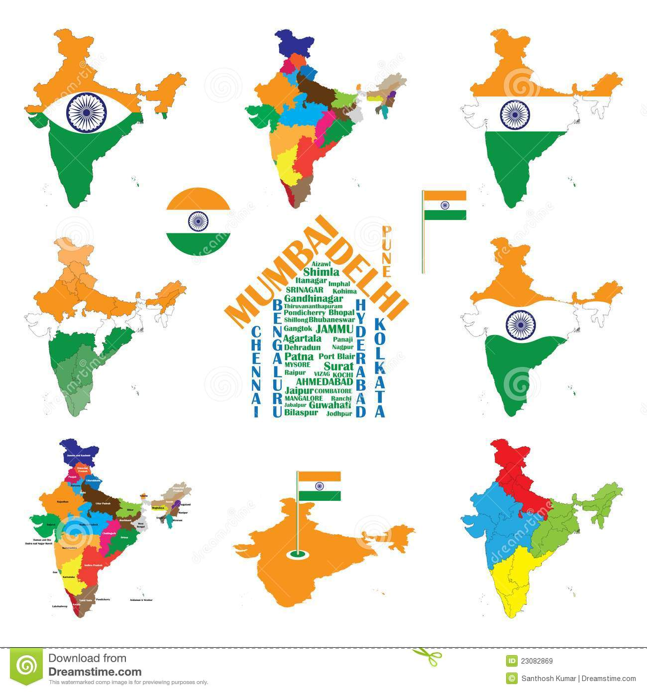 india map indian cities states and india flag royalty free stock