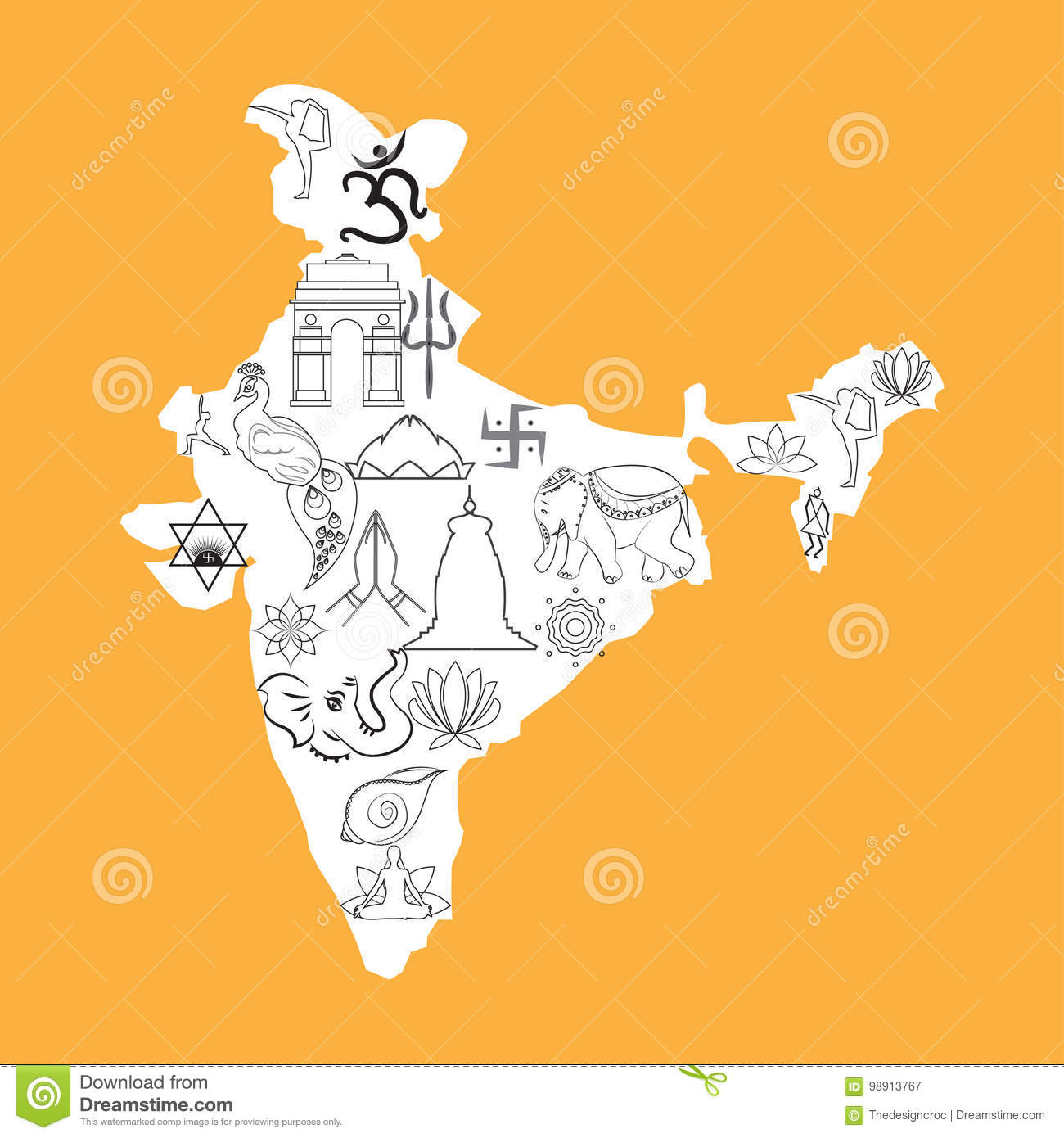 India Map Outline Cultural Spiritual Symbols Doodle Saffron Stock