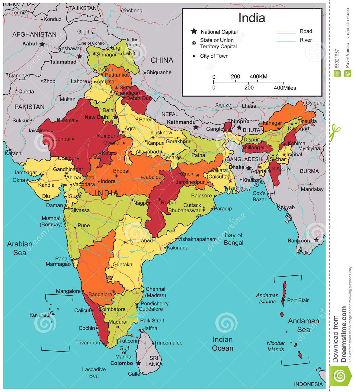 India Map With Selectable Territories Vector Stock Vector
