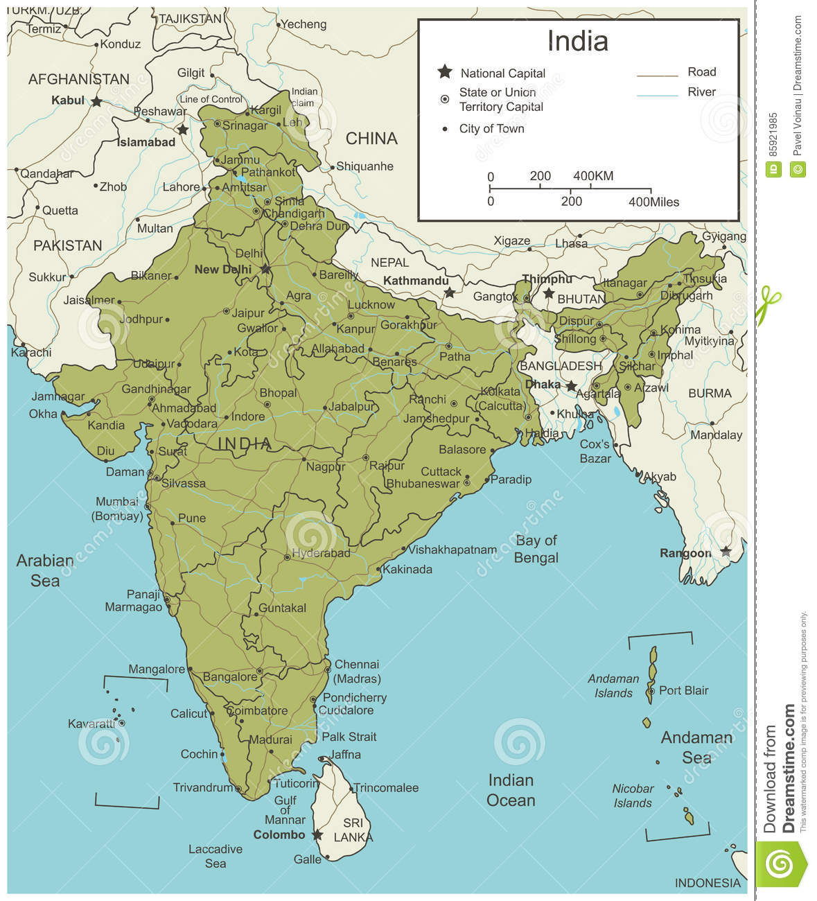 India Map With Selectable Territories. Vector Stock Vector ...