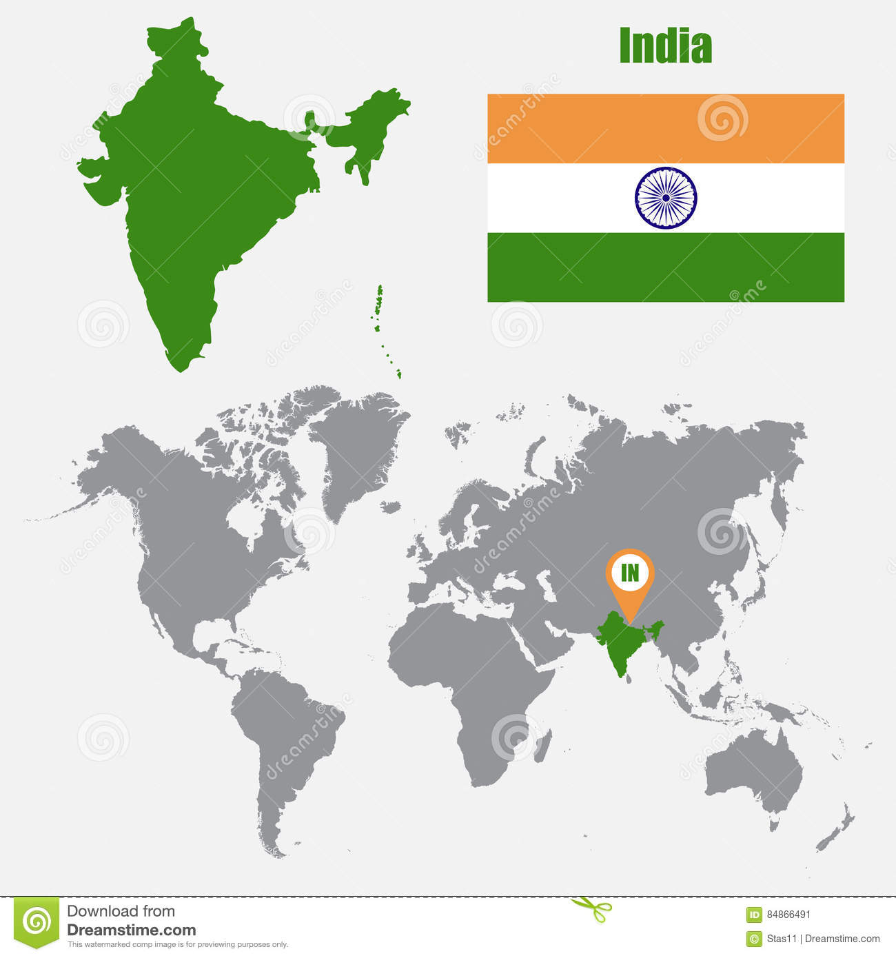 Vector illustration of india flag map stock vector illustration india map on a world map with flag and map pointer vector illustration stock image gumiabroncs Gallery
