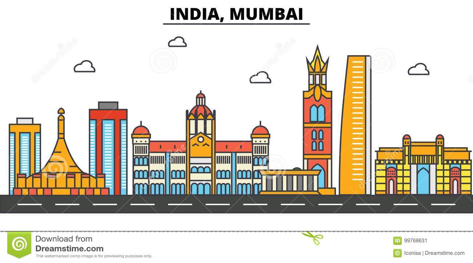 India, Mumbai De architectuur van de stadshorizon editable