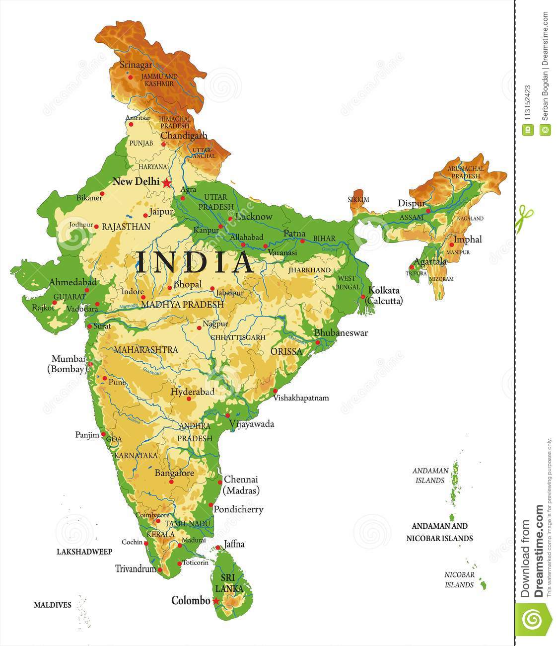 India relief map stock vector  Illustration of bangalore