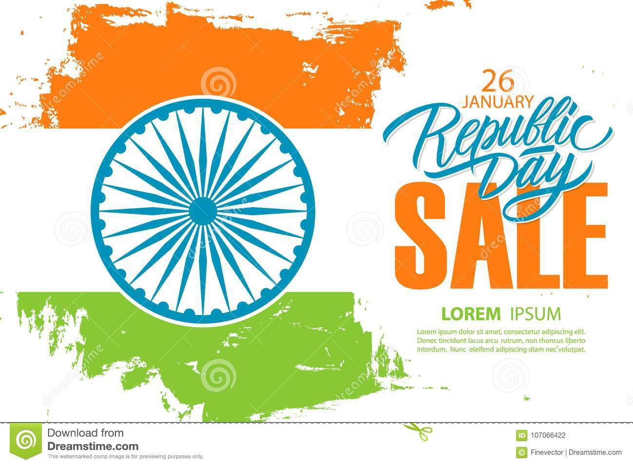 India Republic Day Sale Banner Special Offer Background Stock