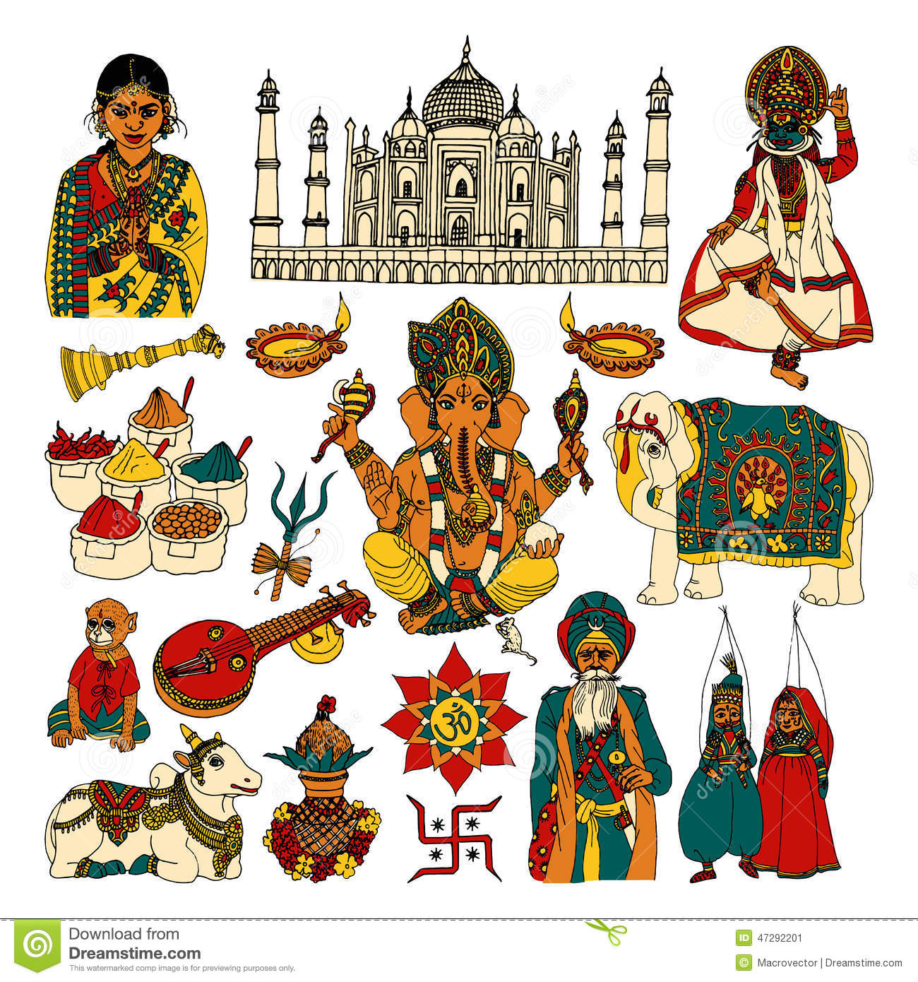 Crowd Of Indian Women Vector Avatars Stock Vector: India Sketch Set Stock Vector. Image Of Decorative, Emblem