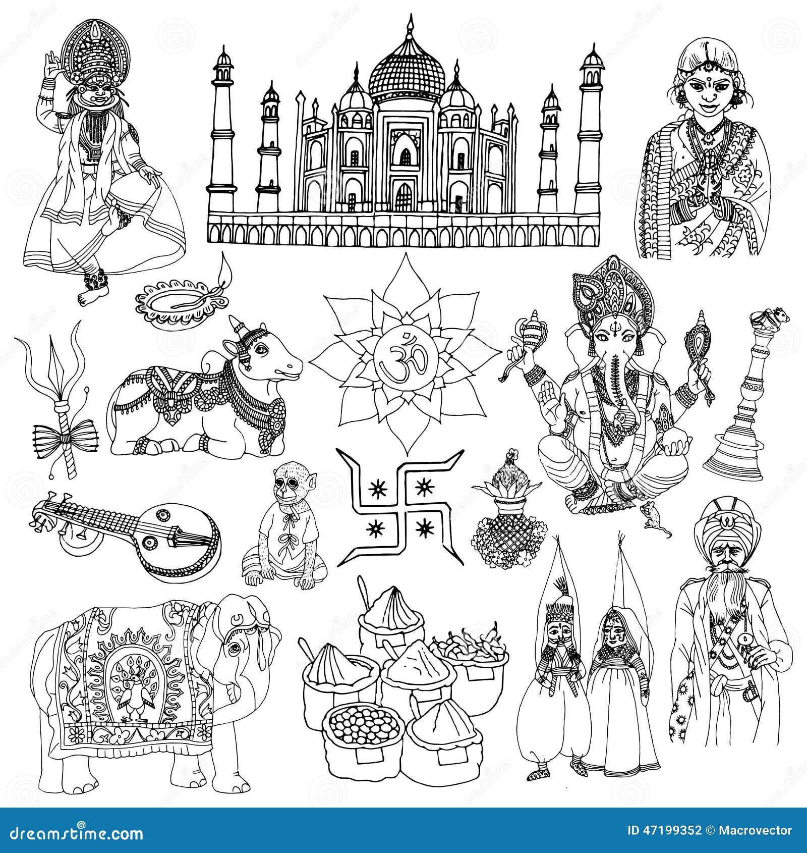 Icons set with elephant lotus buddha isolated vector illustration
