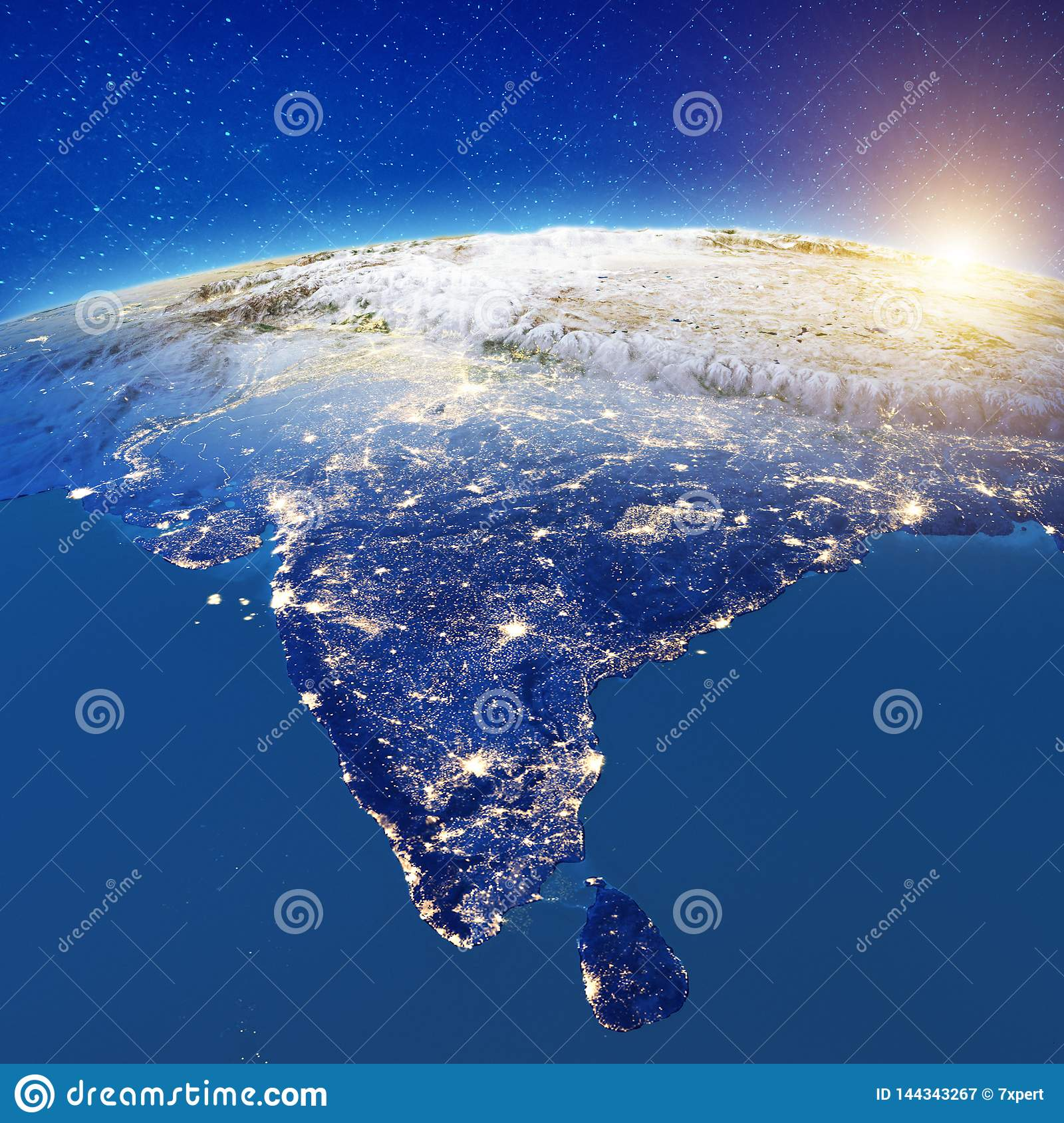 India From Space Stock Illustration. Illustration Of Night