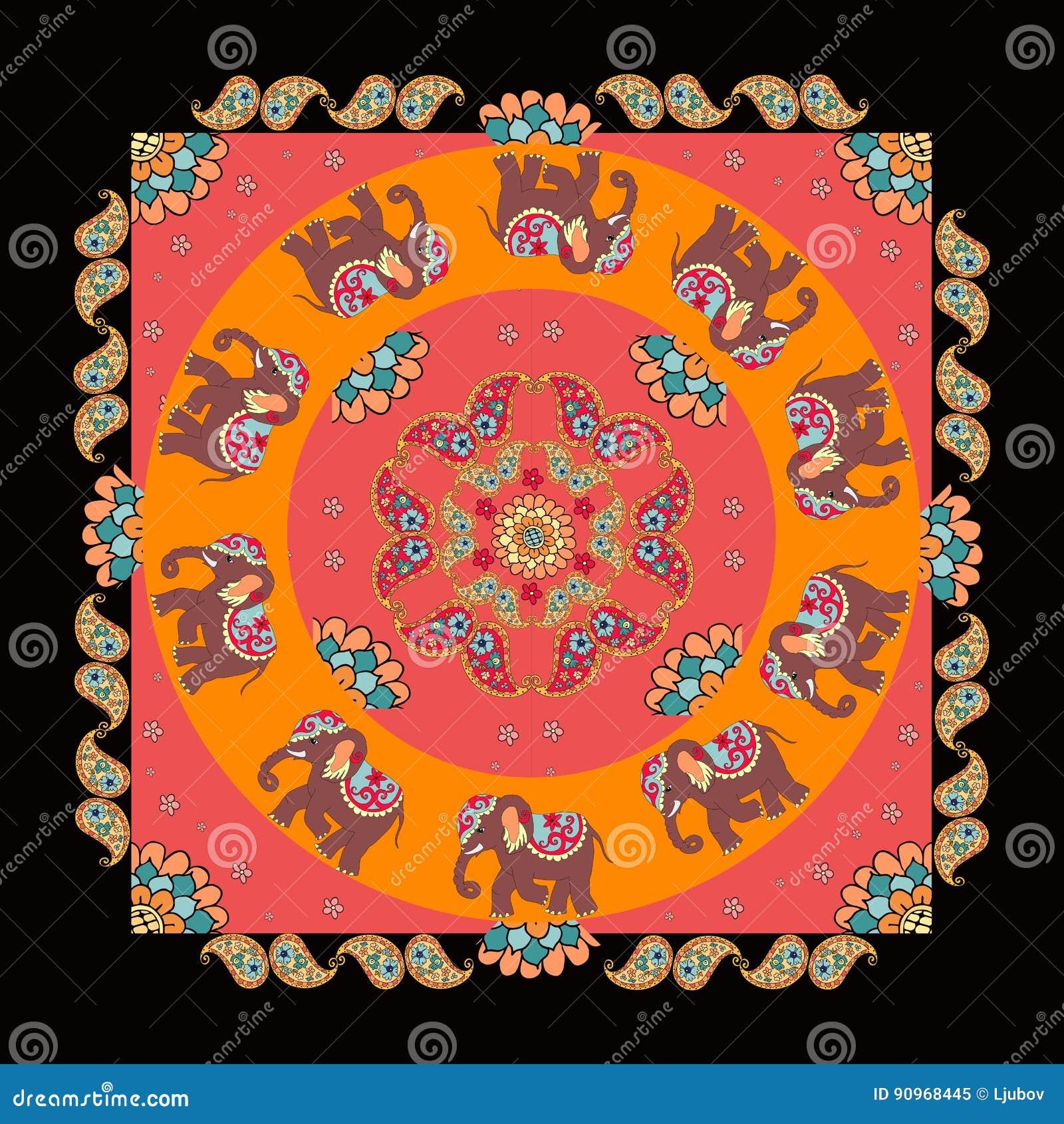 Ethnic Bandana Print With Beautiful Flowers Paisley And Elephants Summer Kerchief Square Pattern Design Style For On Fabric Mandala