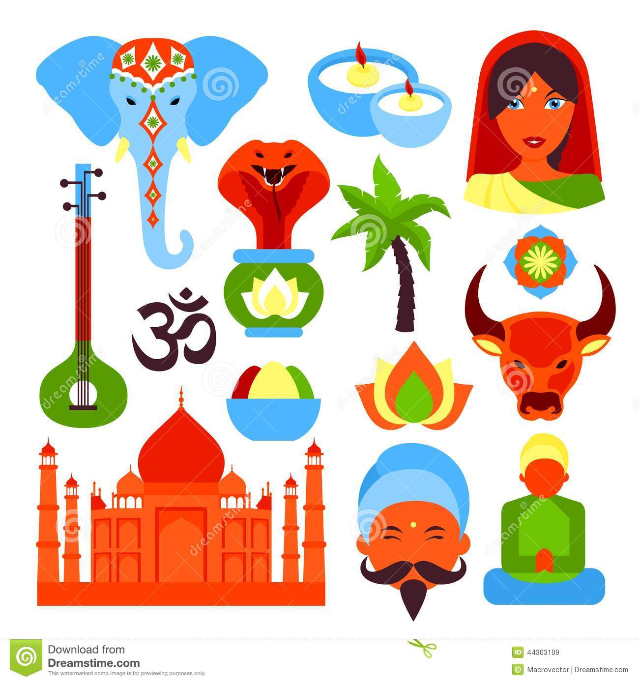 India Symbols Set Illustration 44303109 Megapixl