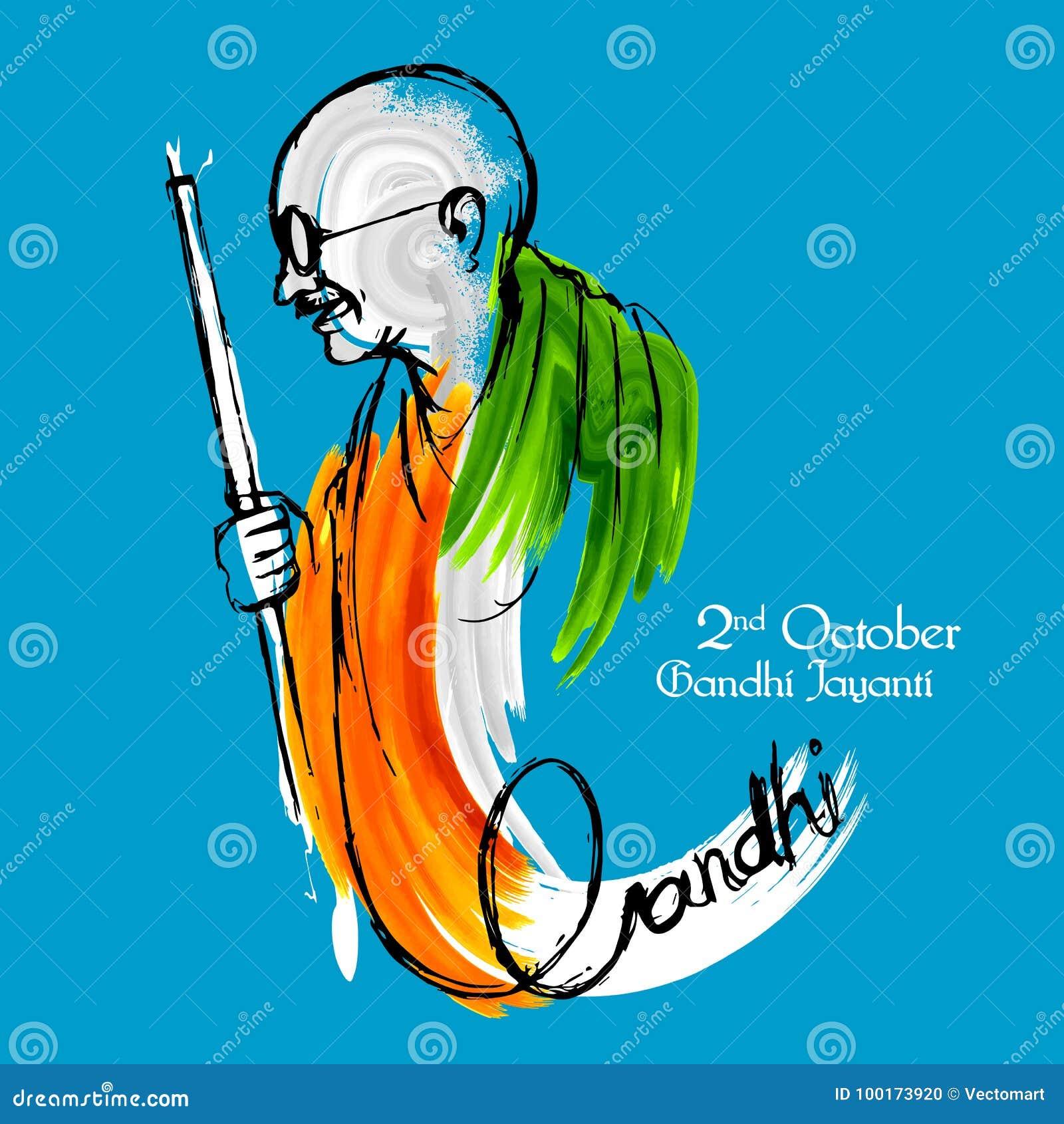 India tło dla 2nd Października Gandhi Jayanti Urodzinowego świętowania Mahatma Gandhi