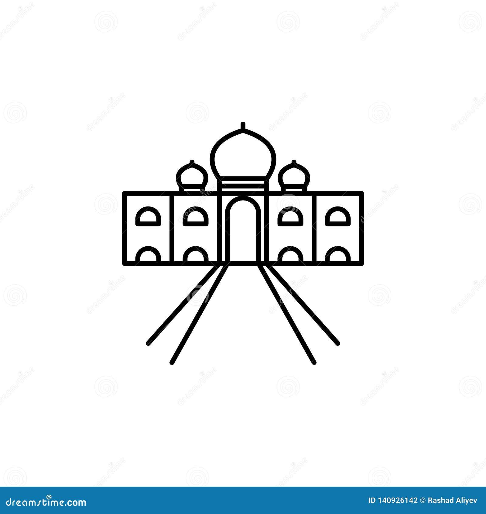 India, Taj Mahal-pictogram Element van de cultuurpictogram van India Dun lijnpictogram voor websiteontwerp en ontwikkeling, app o