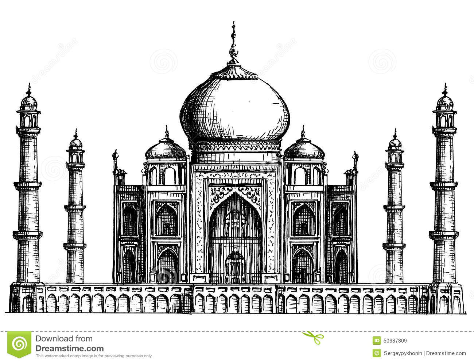 India Taj Mahal On A White Background Sketch Stock