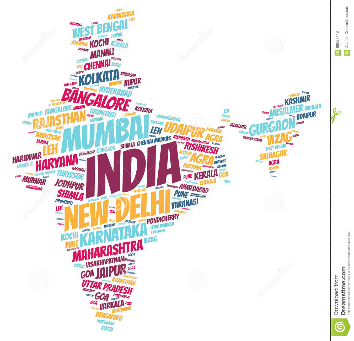 Manali India Map.India Top Travel Destinations Word Cloud Stock Illustration