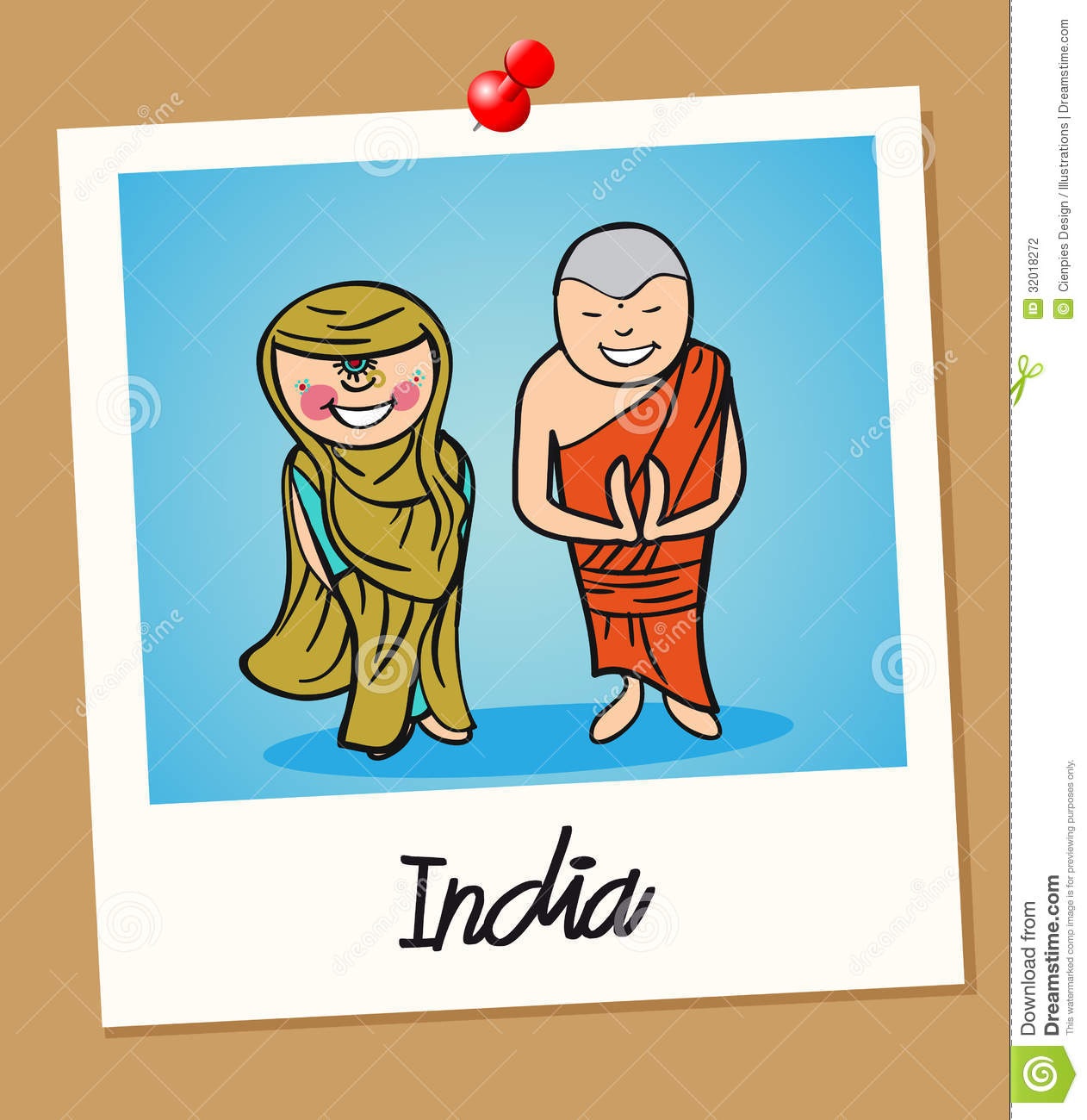 Indian man and woman cartoon couple in vintage instant photo frame ...