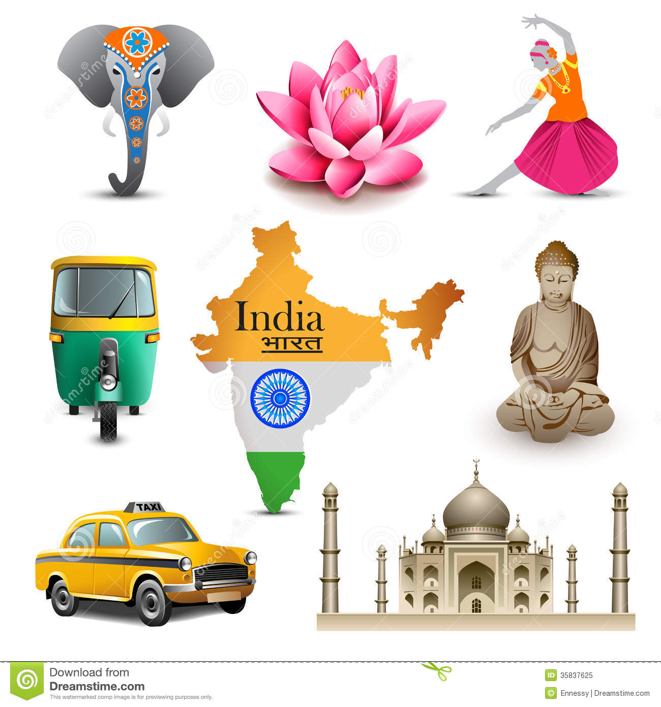 Crowd Of Indian Women Vector Avatars Stock Vector: India Travel Set Icons, Vector Stock Vector