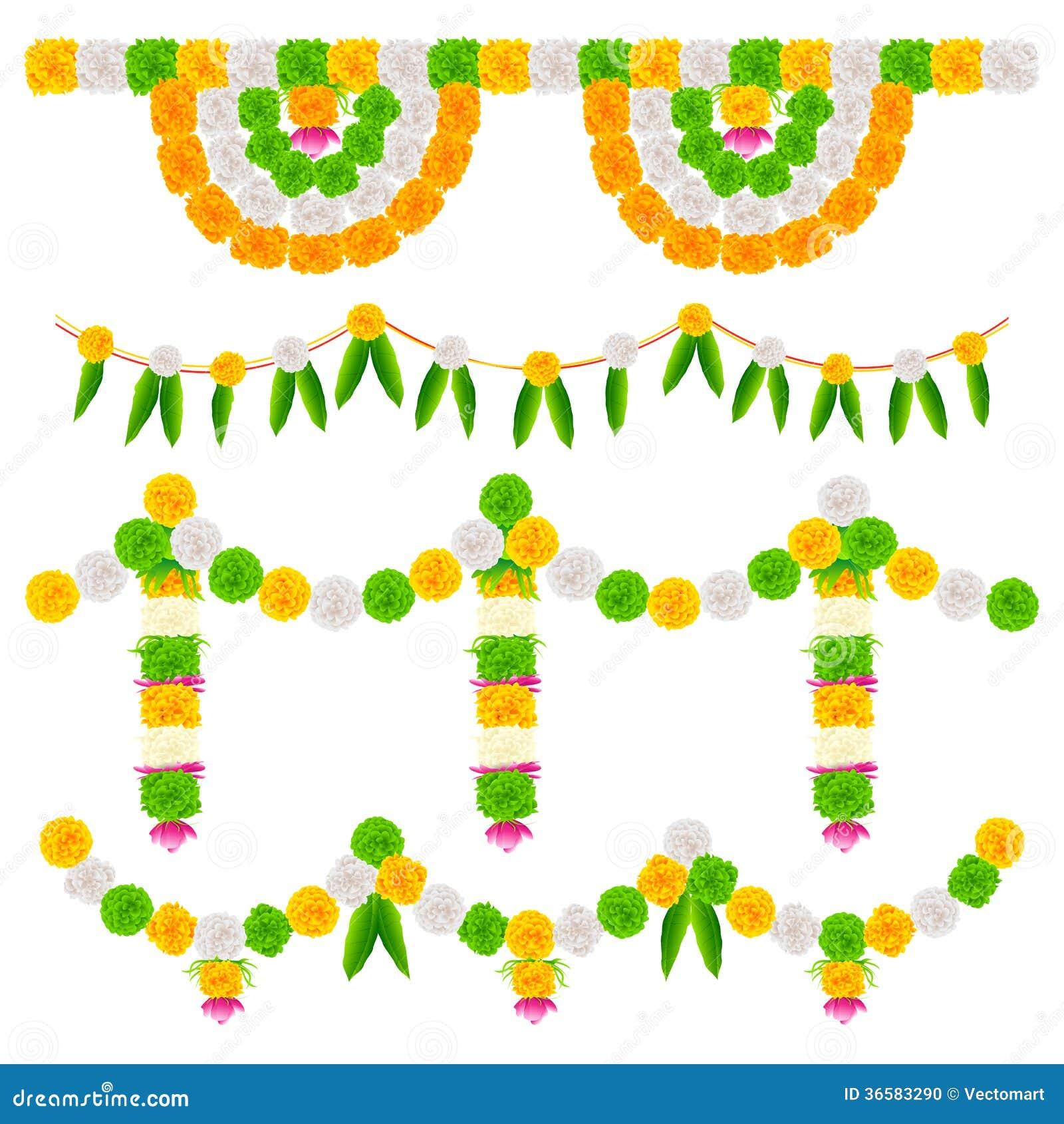 India Tricolor Flower Decoration Stock Illustration Illustration