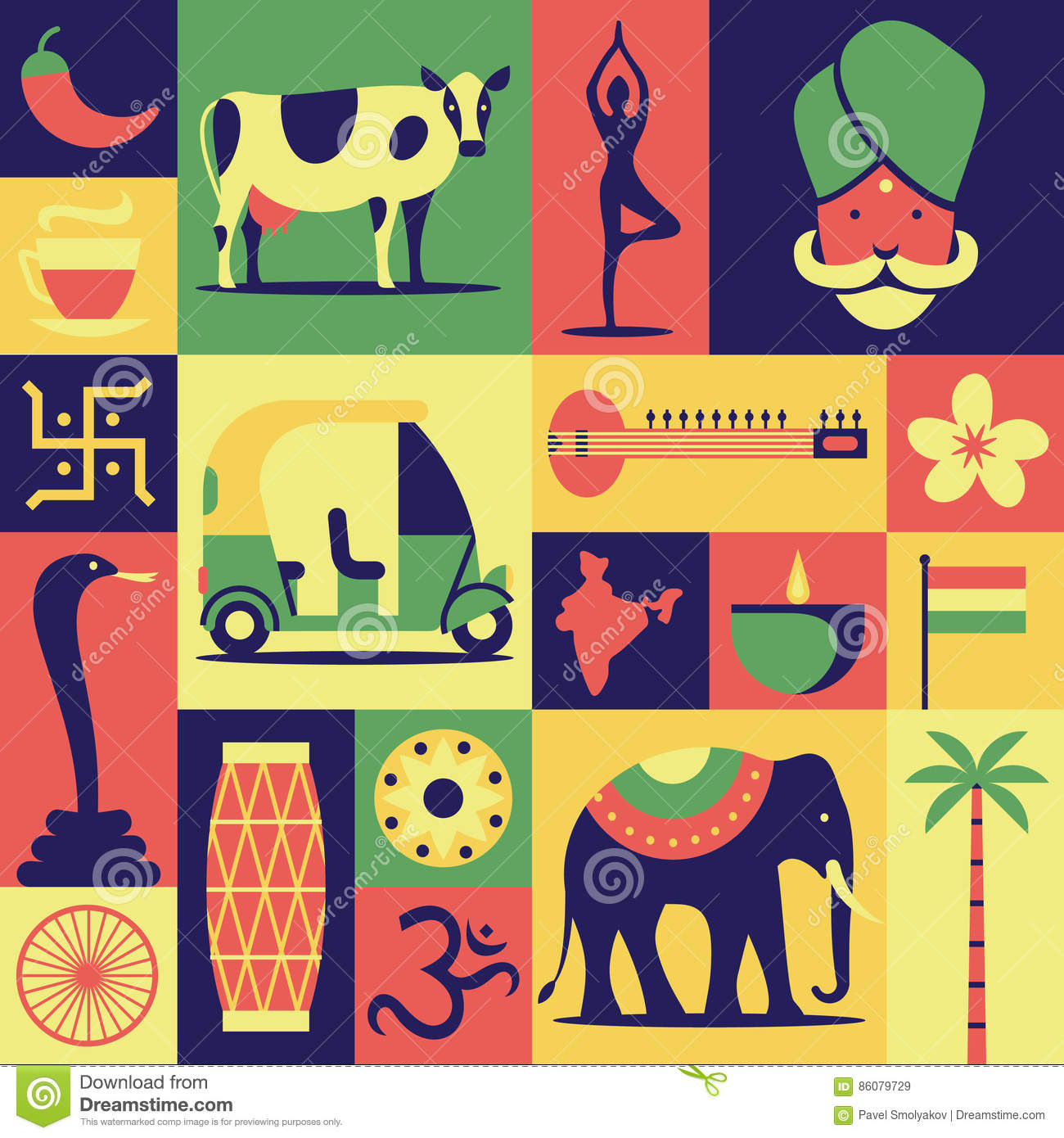 India vector flat illustration icon set pattern background background dhlflorist Gallery