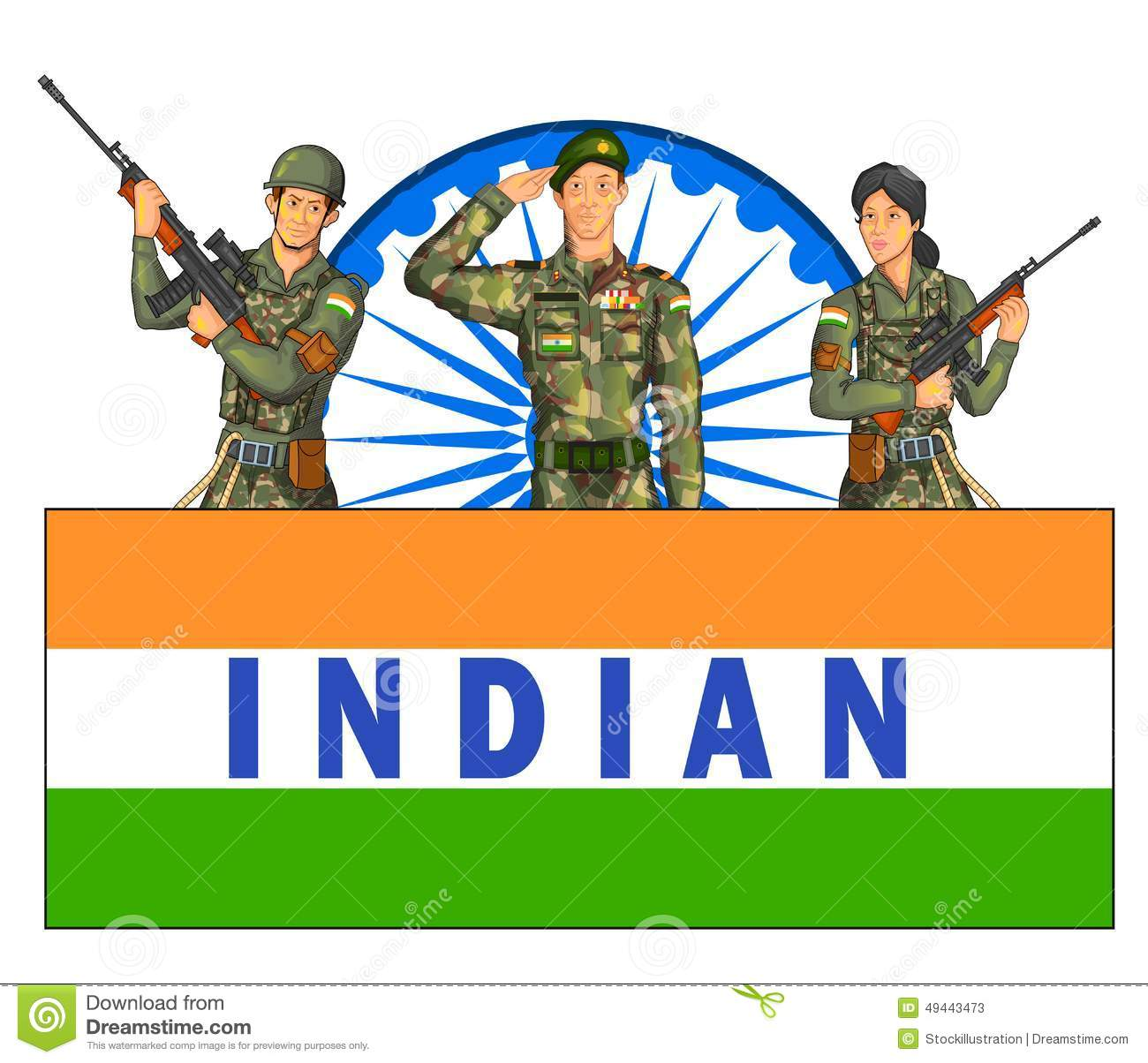 Indian Army Showing Victory Of India Stock Vector