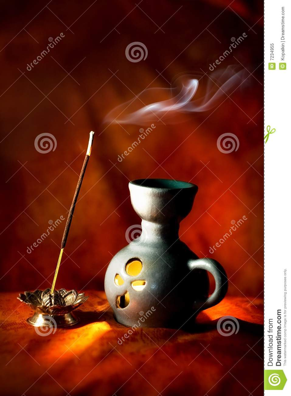 Indian aroma lamp with incense stick and smoke