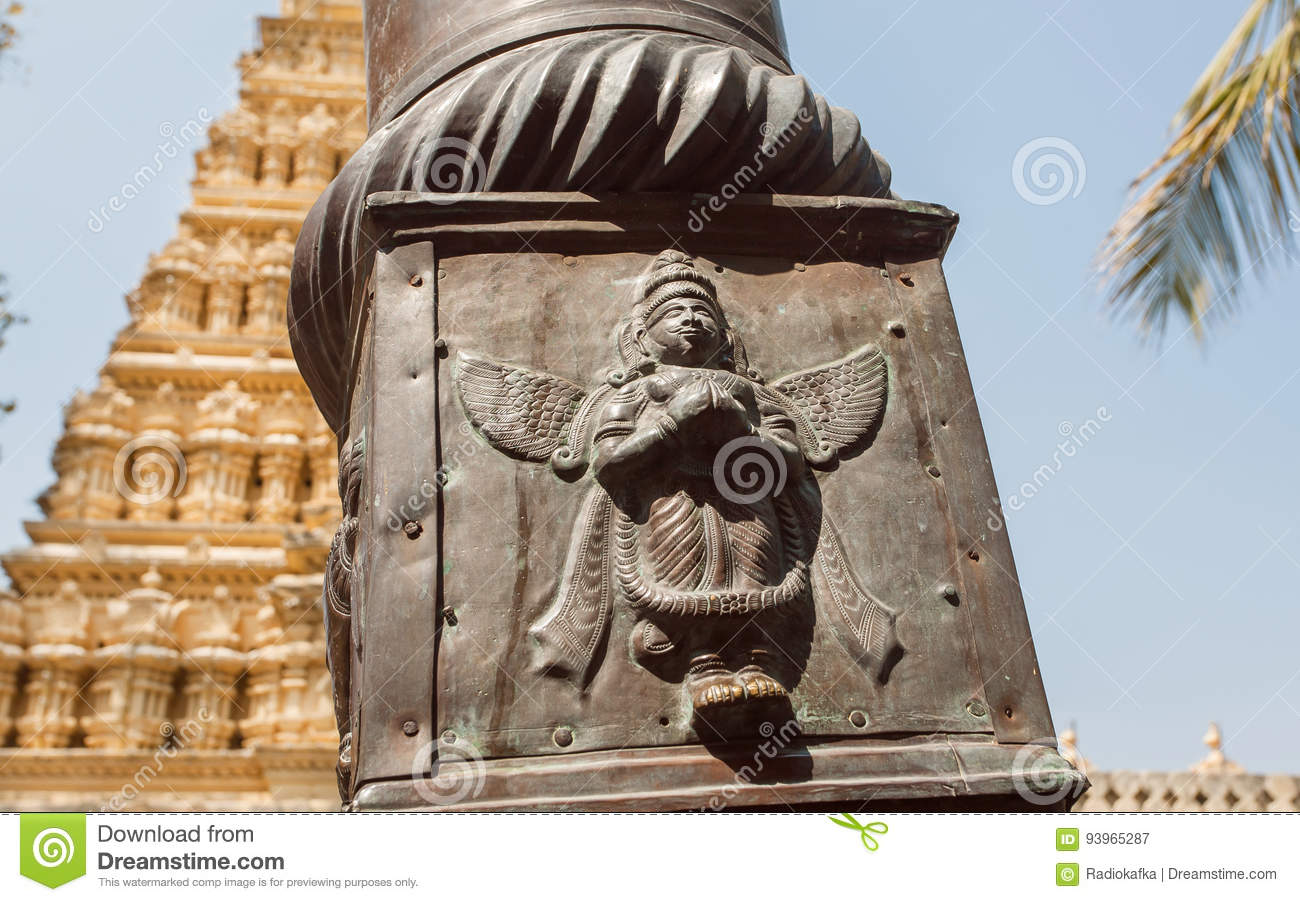 Indian Art With Garuda Bird On Column Of Traditional Hindu
