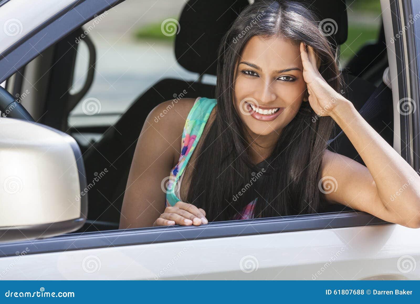 Indian Asian Girl Young Woman Driving Car Stock Photo -7075