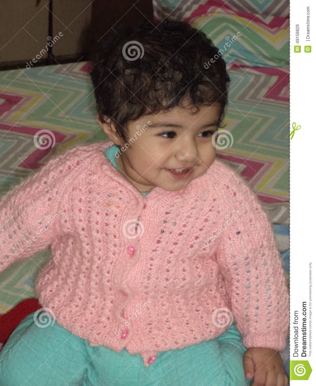indian baby girl smiling stock image. image of sleep - 49156829