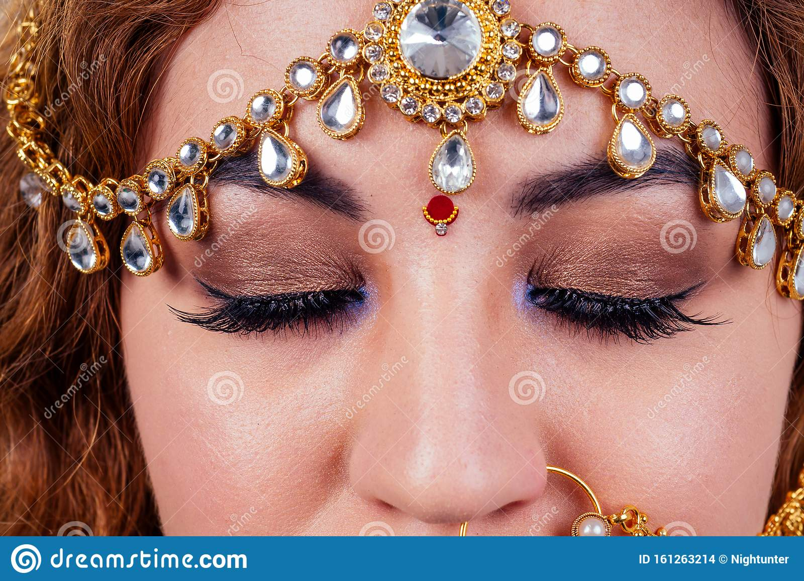 Indian Beautiful Fashion Brunette Woman In Green Traditional