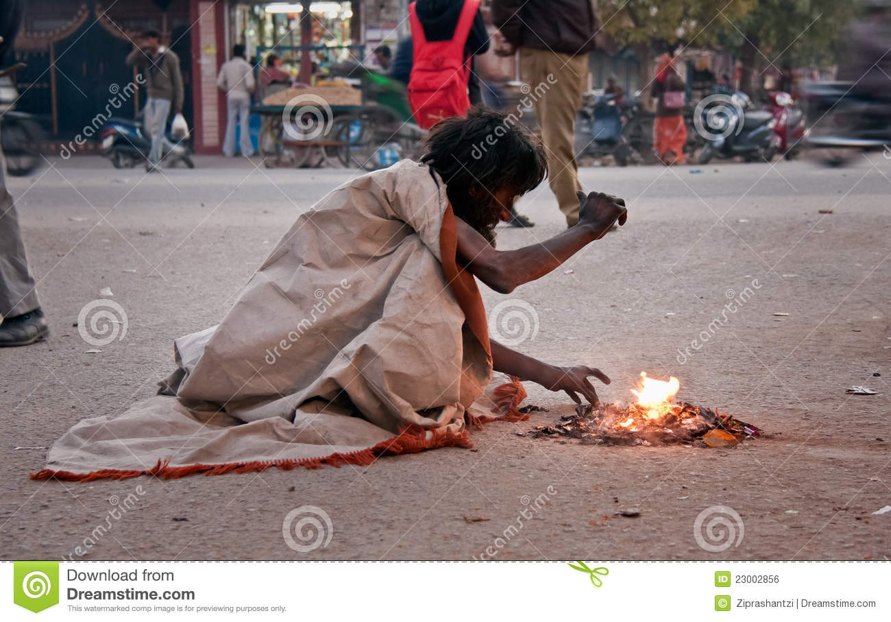 Indian Beggar At Street In Winter Editorial Photo Image