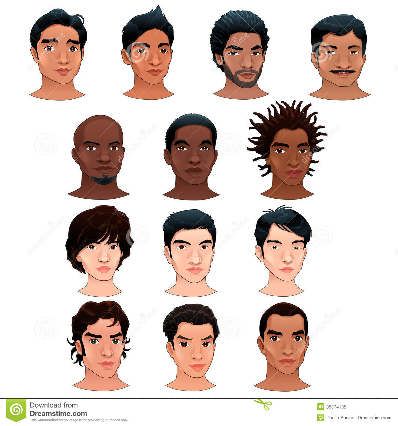 Crowd Of Indian Women Vector Avatars Stock Vector: Indian, Black, Asian And Latino Men. Stock Vector