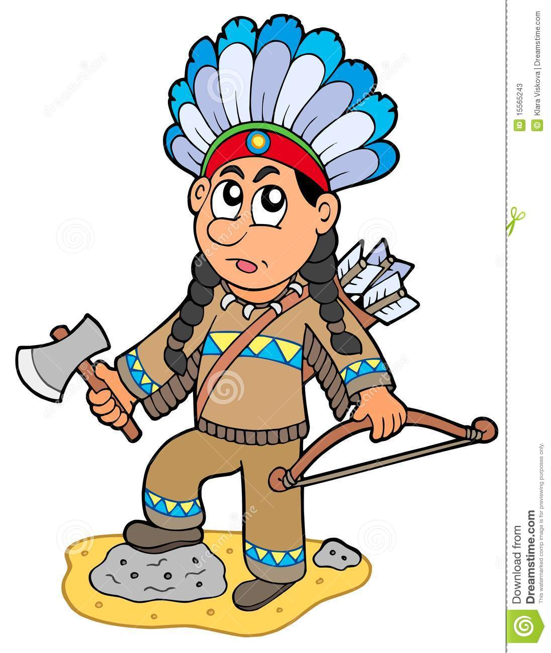 Indian Boy With Axe And Bow Stock Vector Illustration Of