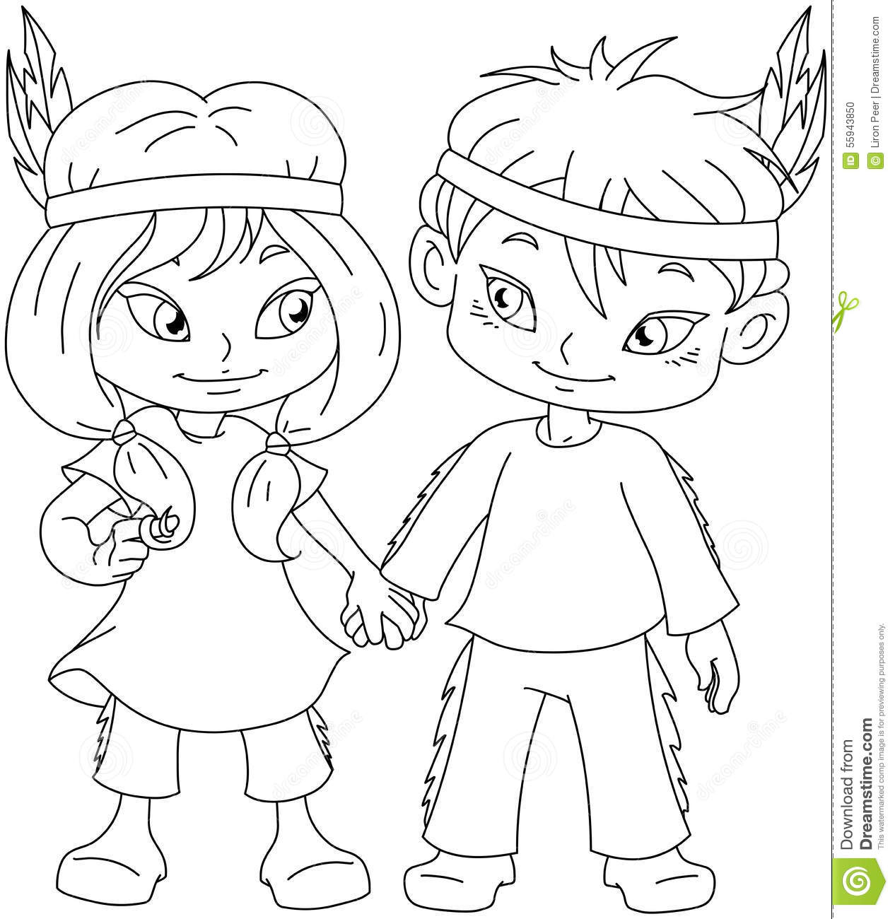 indian boy and girl holding hands for thanksgiving coloring page - Girl Indian Coloring Pages