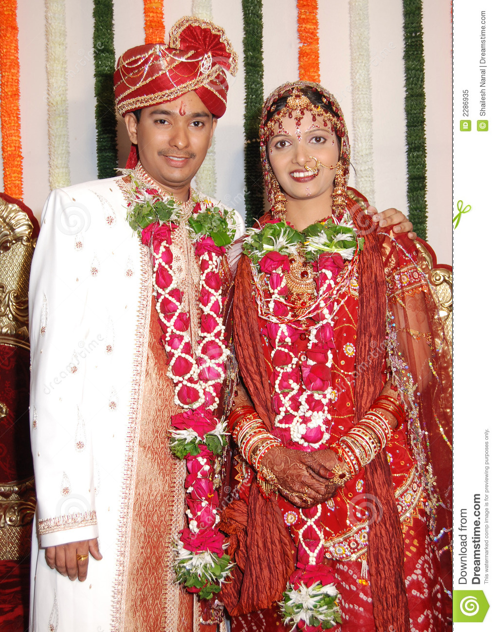 Indian Bride and Groom stock image. Image of costume, ornamental ...