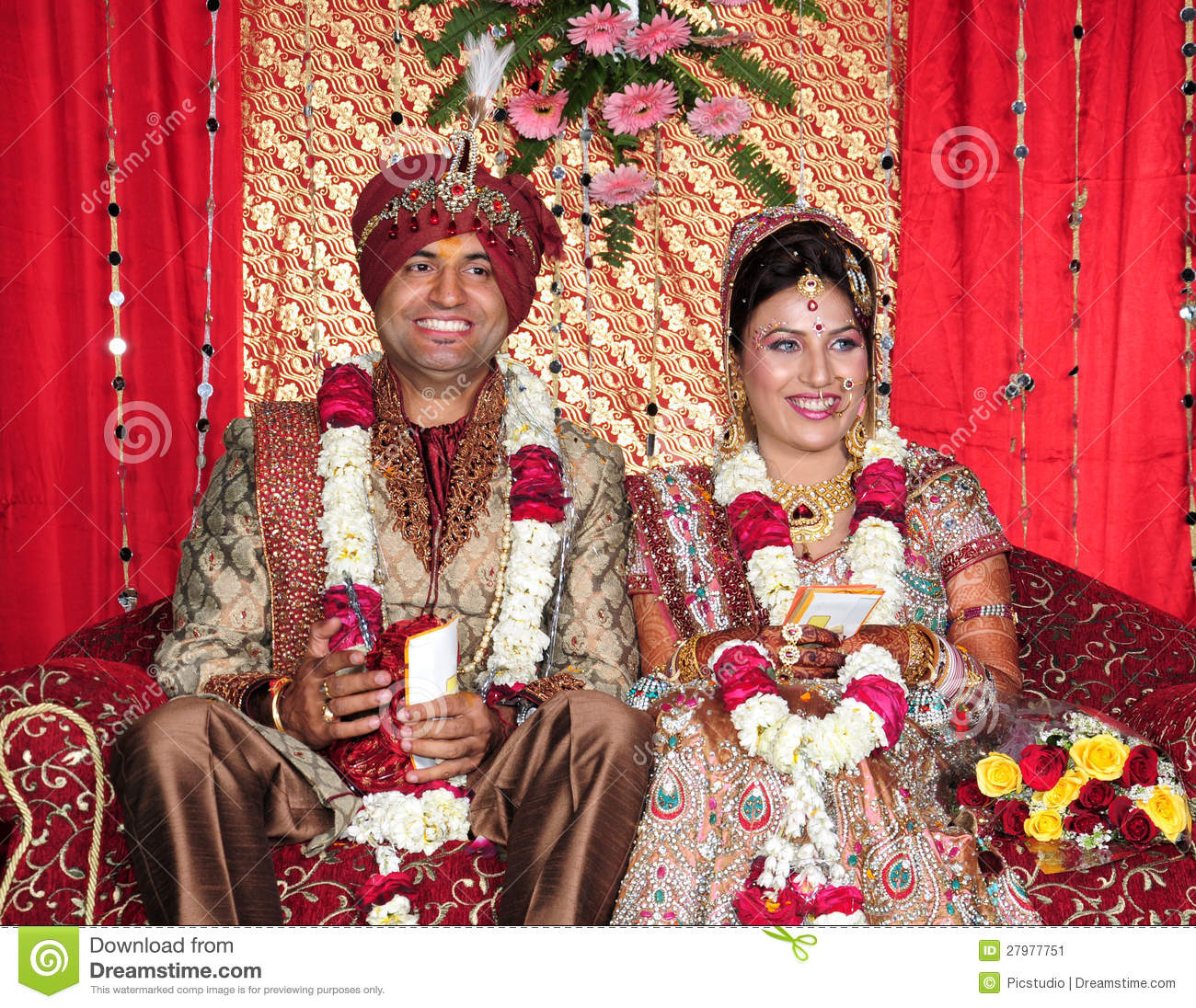 Indian Bride And Groom Stock Image Image Of Beautiful 27977751