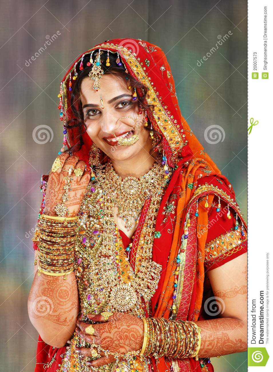 Indian Bride In Her Wedding Dress Showing Stock Image - Image of ...